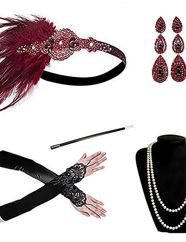 levne Kostýmy z dávných časů-cosplay Charleston Vintage 1920s Gatsby Rukavice Náhrdelník Čelenka Flapper Sady kostýmních doplňků Dámské Kostým Náušnice Červená / Červenočerná / Červená a bílá Retro Cosplay Festival