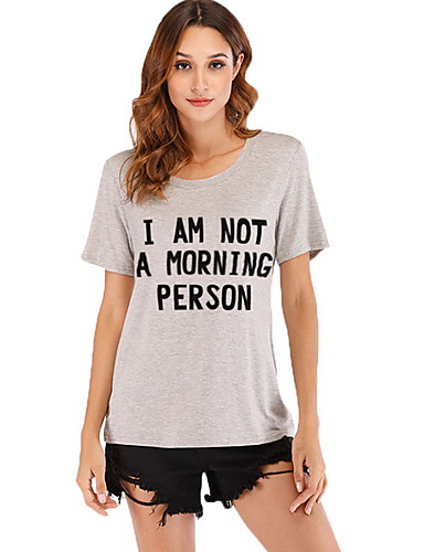 38390e83da16 Χαμηλού Κόστους Γυναικείες Μπλούζες-Γυναικεία T-shirt Γράμμα Μαύρο L
