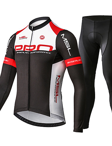 cheap Cycling Clothing-Mysenlan Men's Long Sleeve Cycling Jersey with Tights - Red / black Bike Clothing Suit Breathable 3D Pad Quick Dry Sports Polyester Spandex Honeycomb Mountain Bike MTB Road Bike Cycling Clothing