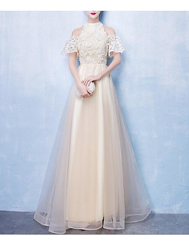 cheap Prom Dresses-A-Line High Neck Floor Length Tulle Dress with Lace Insert by LAN TING Express
