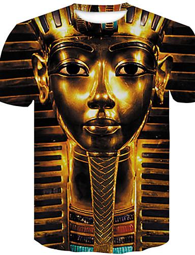 voordelige Heren T-shirts & tanktops-Heren Grote maten - T-shirt Katoen 3D Ronde hals Slank Goud