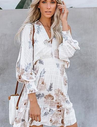 33e6bfec9 baratos Vestidos de Mulher-vestido midi balanço das mulheres v pescoço  branco s m l