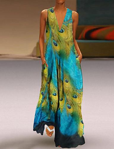 voordelige Maxi-jurken-Dames Vintage Standaard Schede Jurk - Geometrisch Maxi