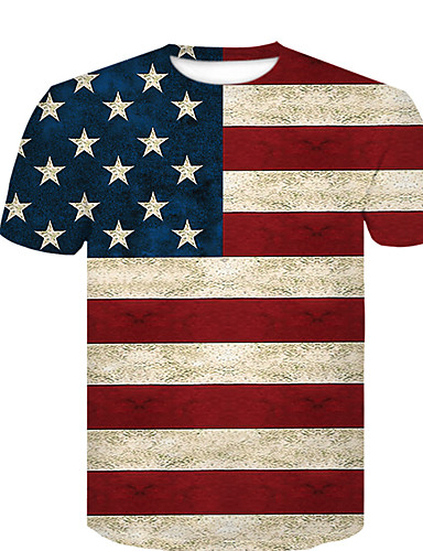 お買い得  メンズTシャツ&タンクトップ-男性用 プリント EU / USサイズ Tシャツ ベーシック ラウンドネック 3D レインボー XL / 半袖