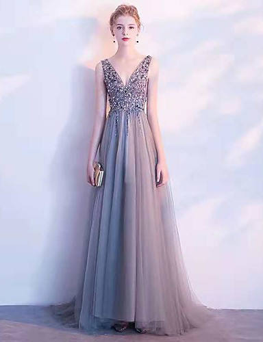cheap Evening Dresses-A-Line V Neck Sweep / Brush Train Tulle / Sequined Dress with Sequin by LAN TING Express