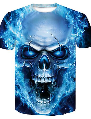 voordelige Herenbovenkleding-Heren Print T-shirt 3D / Cartoon / Doodskoppen blauw