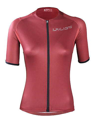 cheap Cycling Clothing-ILPALADINO Women's Short Sleeve Cycling Jersey - Red Solid Color Bike Top UV Resistant Moisture Wicking Quick Dry Sports Elastane Terylene Clothing Apparel