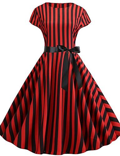 3d7327511f65b Women's Basic Boho Swing Trumpet / Mermaid Skater Dress - Geometric Color  Block Check Print Drawstring Red L XL XXL