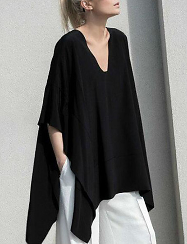 billige Dametopper-Bomull Løstsittende V-hals Store størrelser T-skjorte Dame - Ensfarget, Lapper Grunnleggende / Gatemote Svart XXXL