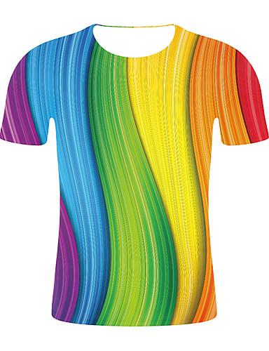 f2769eb5d baratos Camisetas  amp  Regatas Masculinas-Homens Camiseta Estampa Colorida  Arco-íris XXL