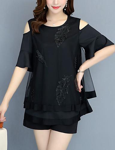 91230189d66e Γυναικεία Μπλούζα Μεγάλο Μέγεθος Φλοράλ   Συνδυασμός Χρωμάτων Δίχτυ    Patchwork Μαύρο XXXL