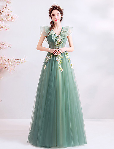 dee3f8601cf A-Line V Neck Floor Length Tulle Dress with Cascading Ruffles by LAN TING  Express