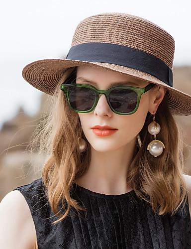 رخيصةأون إكسسوارات-الألياف الطبيعية قبعات القش مع توب ساده 1PC فضفاض / مناسب للبس اليومي خوذة