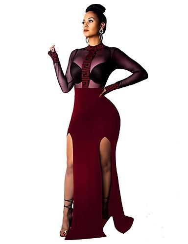 abordables Robes Femme-Femme Basique Maxi Ample Moulante Gaine Robe - Fendu Imprimé, Géométrique Col Roulé Noir Vin Bleu S M L Manches Longues