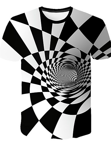 cheap Men's Tees & Tank Tops-Men's T-shirt - Geometric / 3D Round Neck White XXL