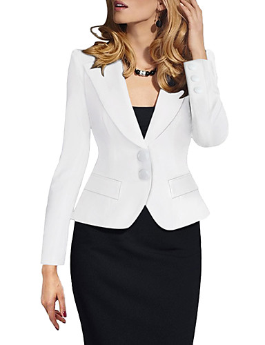 cheap Women's Jackets-Women's Daily / Work Spring &  Fall Short Jacket, Solid Colored Straight Collar Long Sleeve Cotton / Spandex White / Black / Wine