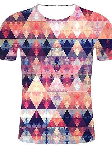 cheap Men's Clothing-Men's T-shirt - Geometric / 3D / Graphic Print Rainbow XXL