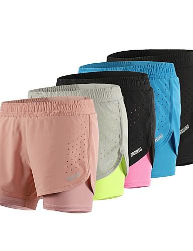 ราคาถูก เสื้อ, กางเกงขายาวและกางกางขาสั้นสำหรับใส่วิ่ง-Arsuxeo สำหรับผู้หญิง สายรัดเอวยางยืด useless กางเกงใส่วิ่ง กางเกงขาสั้นวิ่งด้วยเสื้อรัดรูป กีฬา ลายบล็อคสี Elastane กางเกงขาสั้น ด้านล่าง การฝึกอบรมที่ใช้งานอยู่ วิ่ง การออกกำลังกาย ชุดทำงาน / สีทึบ
