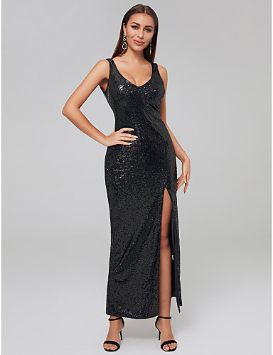 78b44dc5d320 Sheath / Column Y Neck Floor Length Sequined Formal Evening Dress with  Sequin / Split Front by TS Couture® 7209596 2019 – $29.99