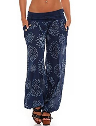 abordables Pantalons Femme-Femme Basique Grandes Tailles Usage quotidien Ample Culotte Bouffante Pantalon - Fleur Fleur Hiver Noir Bleu Marine Vert Claire XXXL XXXXL XXXXXL