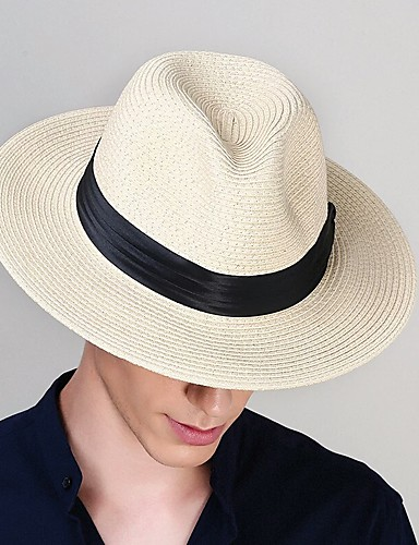 7977be1f341750 Men's 1930s Linen Polyester Straw Floppy Hat Straw Hat-Solid Colored All  Seasons Black Beige Khaki