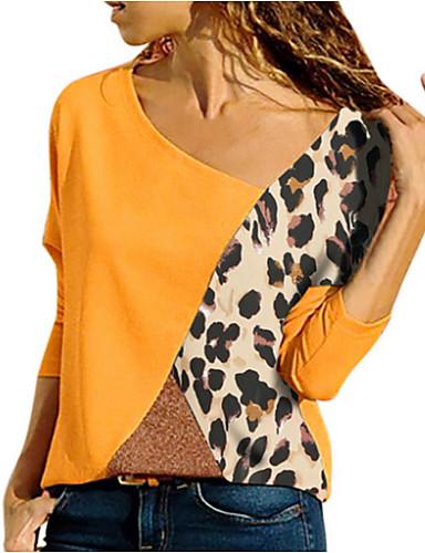 abordables Hauts pour Femme-Tee-shirt Grandes Tailles Femme, Bloc de Couleur Mosaïque Bleu