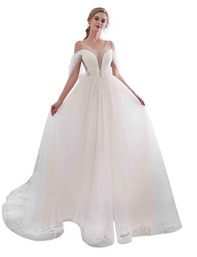 levne Svatební šaty-A-Linie Scoop Neck Velmi dlouhá vlečka Krajka / Tyl Svatební šaty vyrobené na míru s Korálky / Aplikace podle LAN TING BRIDE®