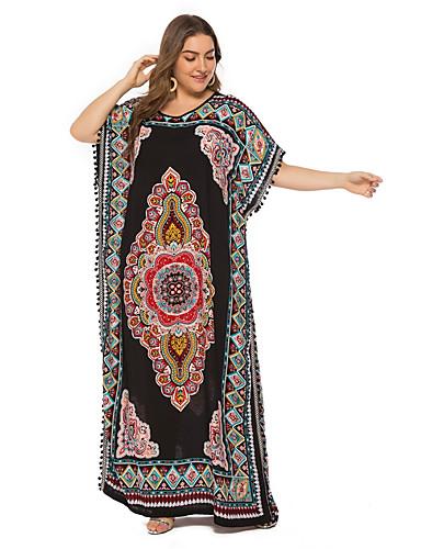 hesapli Büyük Beden Elbiseleri-Kadın's Vintage Boho Kaftan Elbise - Kabile, Püskül Maksi