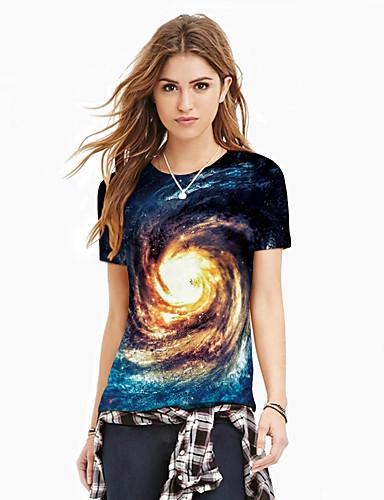 billige Dametopper-T-skjorte Dame - Galakse / Fargeblokk / 3D, Trykt mønster Grunnleggende / overdrevet Blå XL