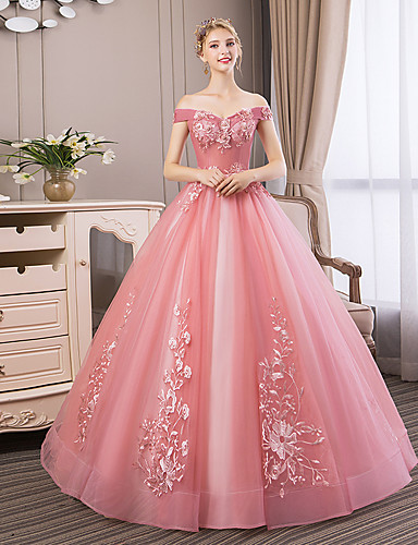 1985dd9f6f Ball Gown Off Shoulder Floor Length Tulle Dress with Beading / Appliques /  Pearls by LAN TING Express