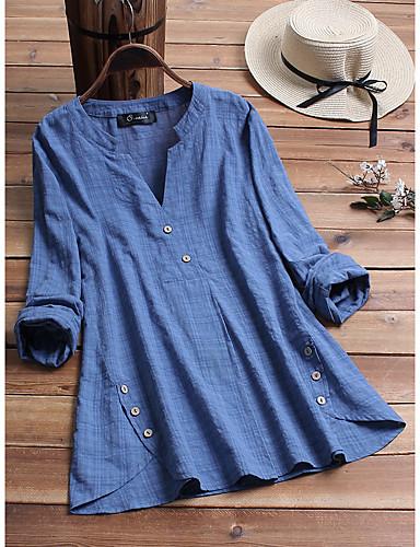 abordables Camisas y Camisetas para Mujer-Mujer Remache / Retazos Camisa Un Color / Cuadrícula Wine XXXL