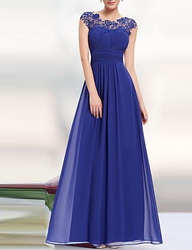 رخيصةأون فساتين نسائية-فستان نسائي متموج أنيق بدون ظهر - دانتيل طويل للأرض لون سادة مناسب للحفلات