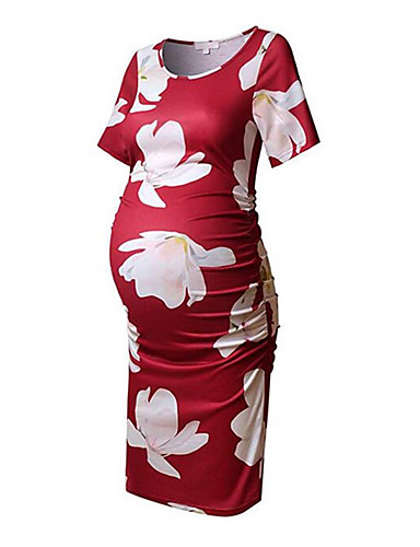 Competente Per Donna Moda Città Elegante Fodero T Shirt Vestito - Con Stampe, Fantasia Floreale Al Ginocchio #07327543 Per Garantire Una Trasmissione Uniforme