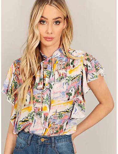 abordables Camisas y Camisetas para Mujer-Mujer Camisa Floral Blanco M