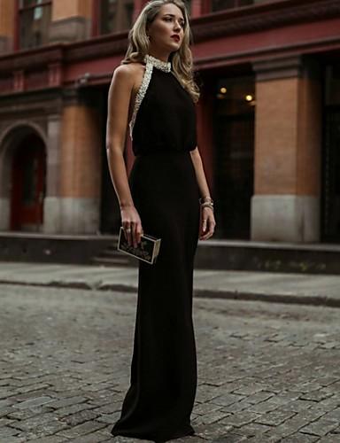 מעטפת \ עמוד קולר עד הריצפה ג'רסי ערב רישמי שמלה עם על ידי LAN TING Express