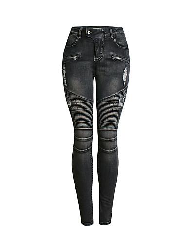 abordables Pantalons Femme-Femme Basique / Chic de Rue Slim Jogger Pantalon - Couleur Pleine Bleu, Troué Taille haute Coton Noir S M L