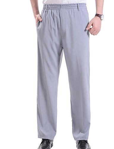 abordables Ropa de Hombre-Hombre Básico Chinos Pantalones - Un Color Gris Oscuro Beige Gris Claro XXXL XXXXL XXXXXL