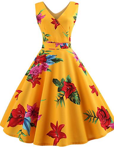 abordables Robes Femme-Femme Rétro Vintage Au dessus du genou Mousseline de Soie Robe - Noeud Lacet, Fleur Jaune S M L Manches Courtes