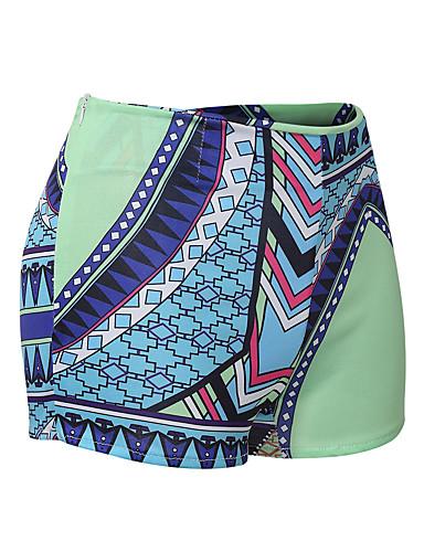 billige Tights til damer-Dame Bohem Shorts Bukser - Trykt mønster Trykt mønster Blå L