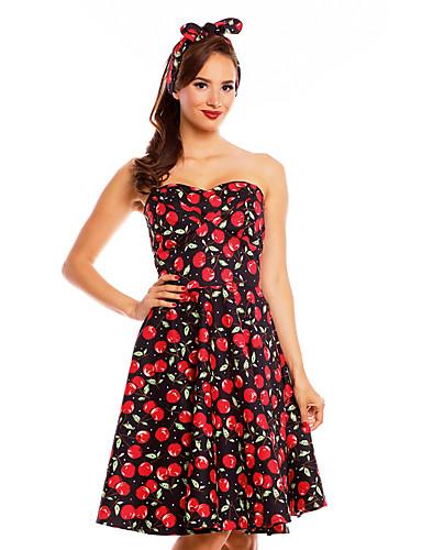 tanie W stylu vintage-Damskie Vintage Spódnica Sukienka - Owoc, Odkryte plecy Pofałdowany Do kolan