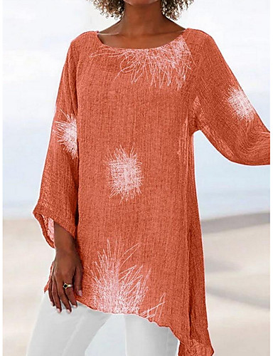 ราคาถูก ชุดและเสื้อสำหรับสุภาพสตรี-สำหรับผู้หญิง เสื้อเชิร์ต รูปเรขาคณิต ทับทิม US12