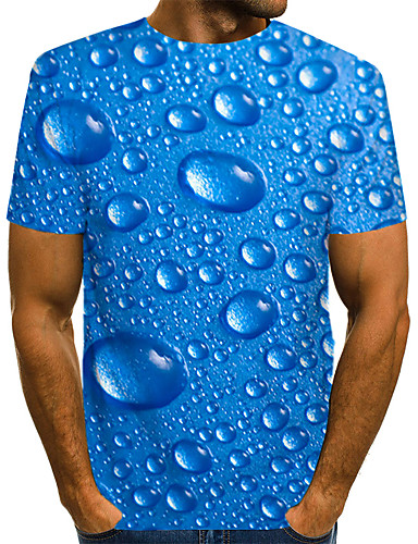 voordelige Heren T-shirts & tanktops-Heren Street chic / overdreven Print EU / VS maat - T-shirt Club Effen / Polka dot / 3D Ronde hals blauw / Korte mouw