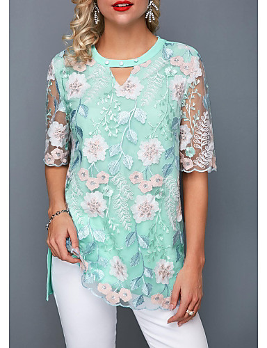 billige Topper til damer-Løstsittende Skjortekrage Skjorte Dame - Ensfarget, Broderi / Lace Trim Grønn