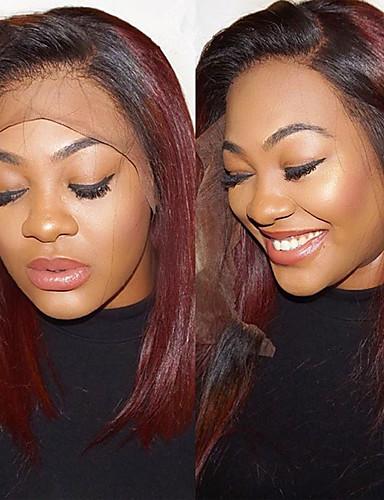 povoljno Perike s ljudskom kosom-Ljudska kosa Lace Front Perika Bob frizura stil Brazilska kosa Ravan kroj Crvena Perika 130% Gustoća kose Žene Najbolja kvaliteta novi Novi Dolazak Rasprodaja Žene Kratko Wig Accessories Perike s