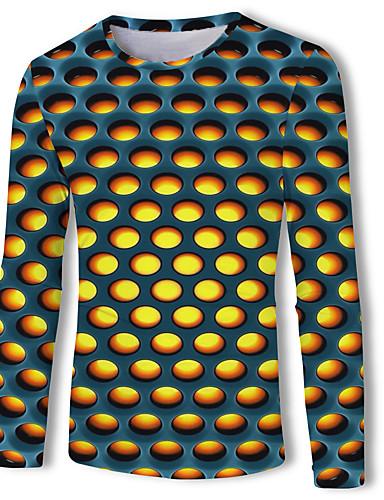 cheap Men's Tees & Tank Tops-Men's Daily Wear Basic T-shirt - 3D Print Round Neck Rainbow / Long Sleeve