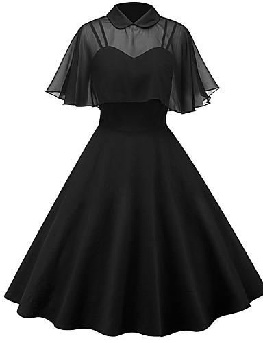 저렴한 여성 드레스-여성용 스트리트 쉬크 스윙 드레스 - 솔리드, 패치 워크 무릎길이
