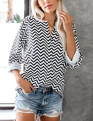 ieftine Bluze & Seturi Femei-Pentru femei Tricou Șic Stradă - Dungi Plasă Negru US6