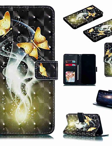 מארז iPhone XR / iPhone XS מקסימום להעיף / עם לעמוד / shockproof מלא גוף המקרים קריקטורה / פרפר קשה עור pu עבור iPhone 6 / 6s פלוס / 7/8 פלוס / xs / x