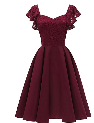 cheap Under $90 Bridesmaid Dresses-A-Line Square Neck Knee Length Jersey Bridesmaid Dress with Lace by LAN TING Express