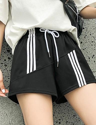 abordables Pantalons Femme-Femme Sportif / Chic de Rue Ample Chino / Short Pantalon - Ecossais / à Carreaux Noir & Blanc, Sportif Taille haute Noir Rouge Vert S M L